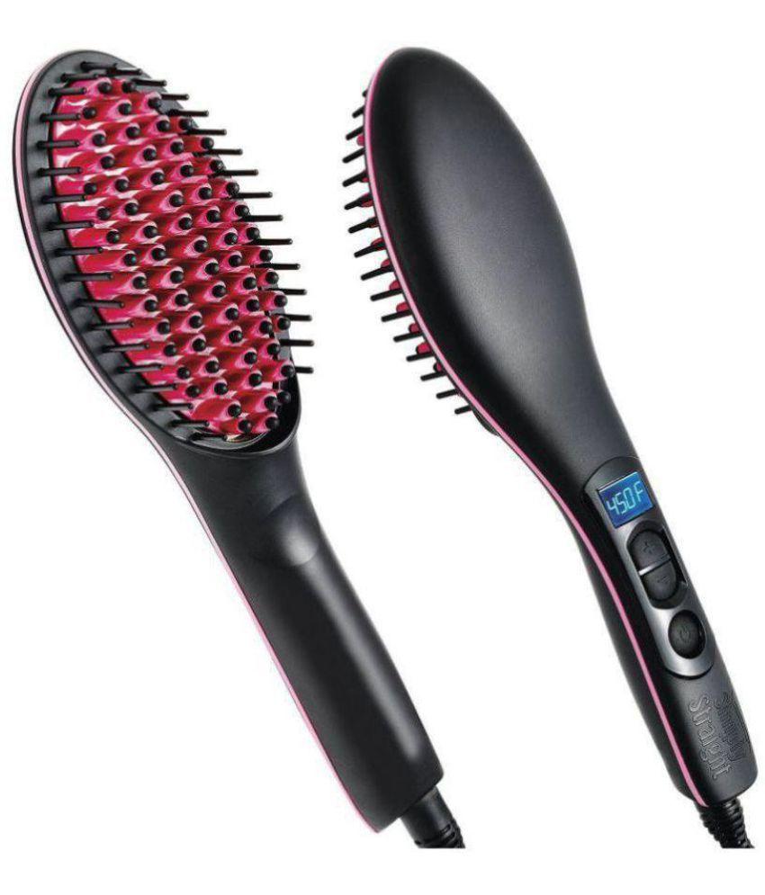 UNIQUE KART Simply Straight Ceramic Electric DigitalFast Brush Magic Hair Straightener Comb Lcd Smooth Straightener Brush Hair Irons Hair Straightener ( BLACK ) Hair Straightener ( Black )