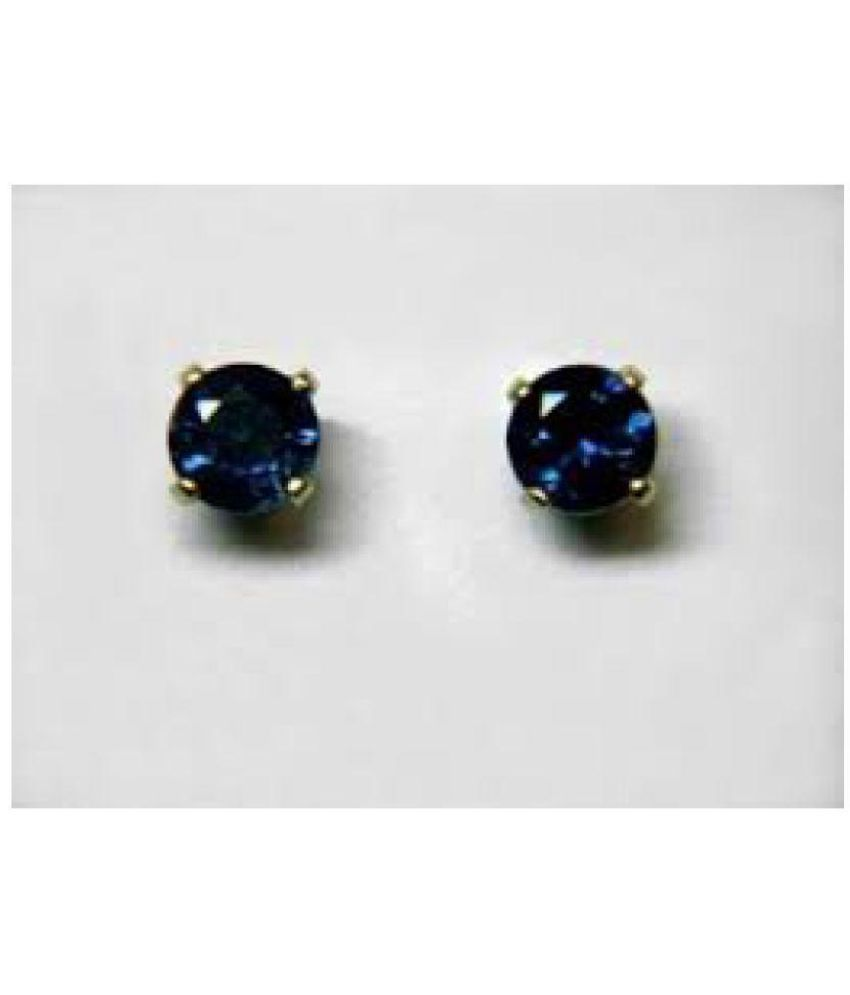 Blue Sapphire Earrings With Natural And Effective Stone Jaipur Gemstone