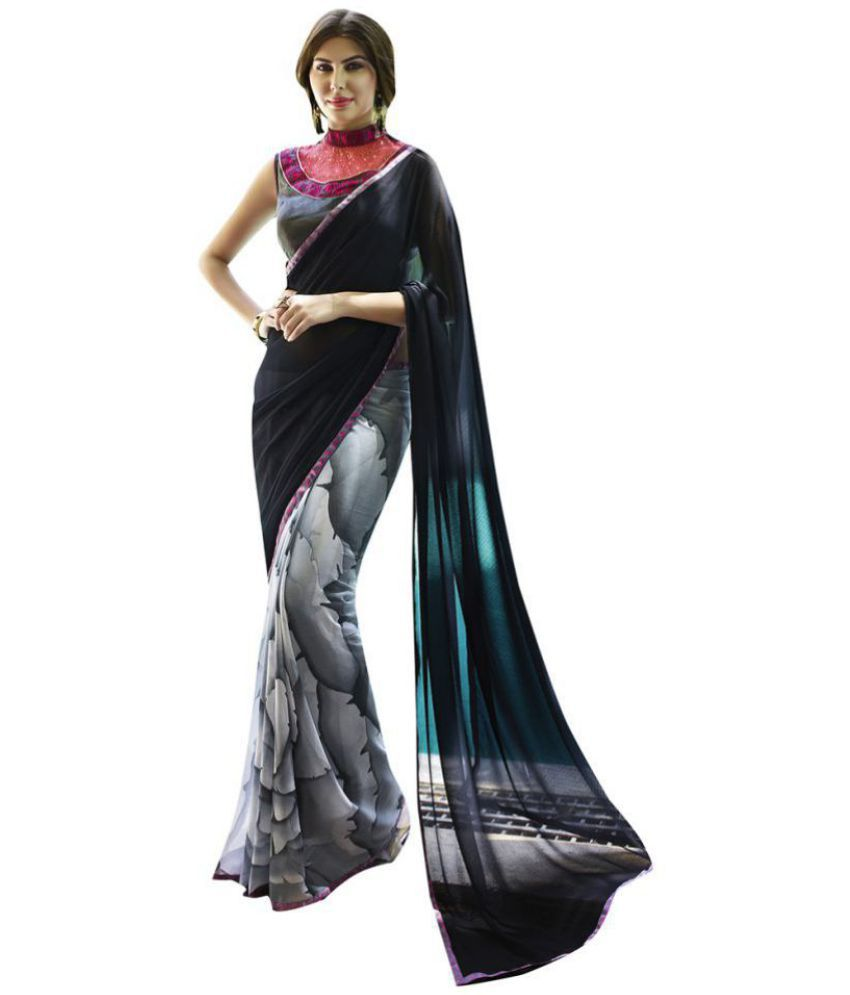 Shaily Retails Grey Georgette Saree