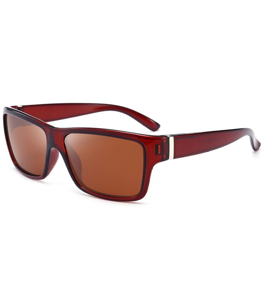 Levaso Brown Square Sunglasses ( 1 PCS UV400 Protected Eyewear Driving Shield  )