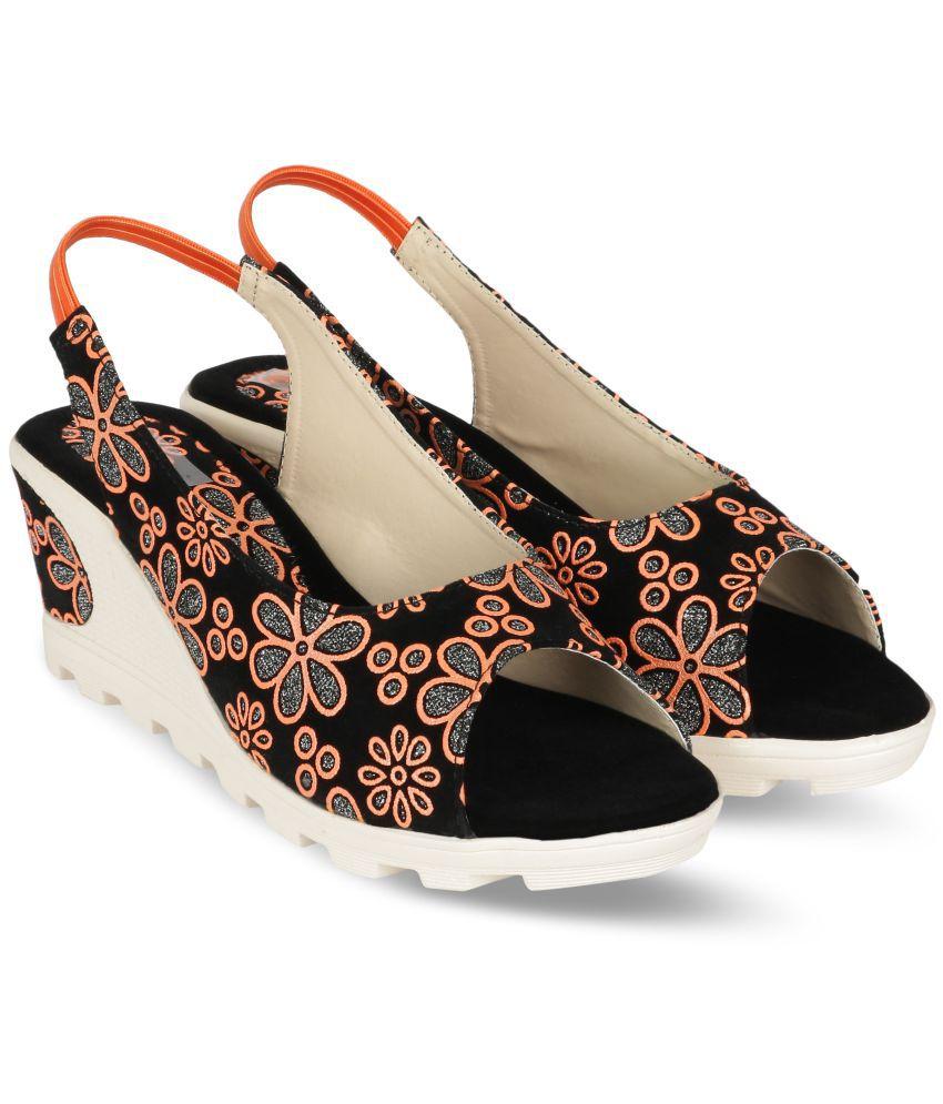MONAQI Orange Wedges Heels
