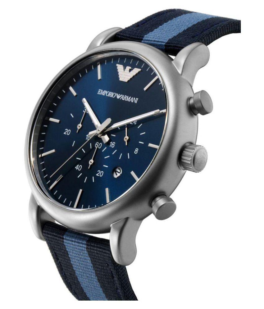 71dfa98b56 Emporio Armani AR 1949 BLACK AND BLUE STRAP LUIGI CHRONOGRAPH Nylon Analog  Men's Watch