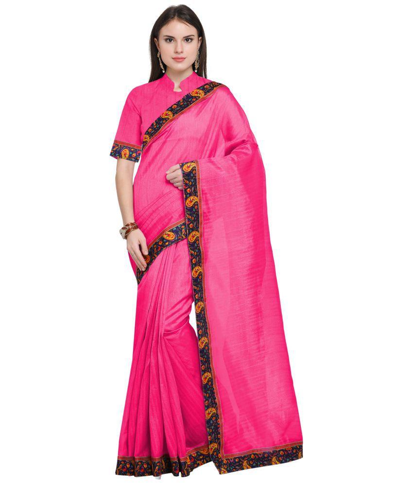 Today Deal Pink Bhagalpuri Silk Saree