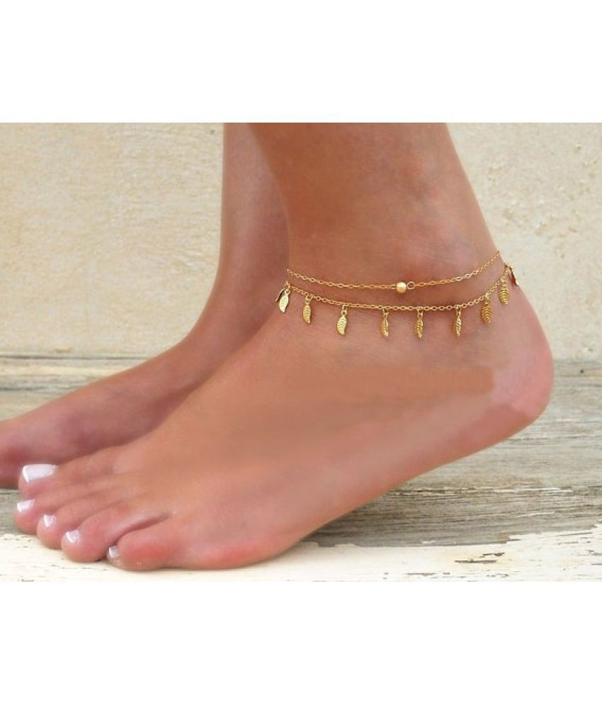 Accessories Simple Double Chain Tassels Small Leaves Feet Ornaments Double Decker Chains