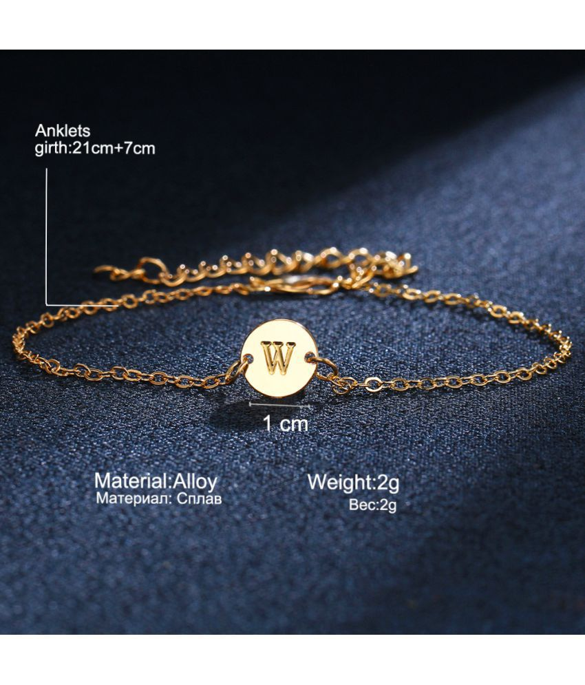 America Accessories Fashion Simple Personality 26 Letter Bracelet Beach Letter  Single Foot Chain