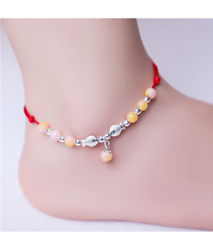 D Woven Natural Jade Red Rope Foot String Male Female Foot String Simple Bracelet