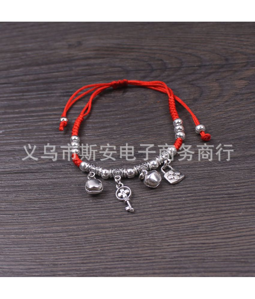D-Woven Red Rope Bracelet Out Of Peace Night Long Life Lock National Wind Tibetan Silver Ornament