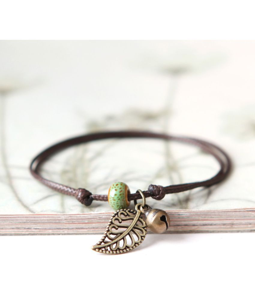 Green Song Jingdezhen Ceramic Beads Bracelet Anklet Lovers Girlfriends Bohemia Retro First Leaf Ornaments