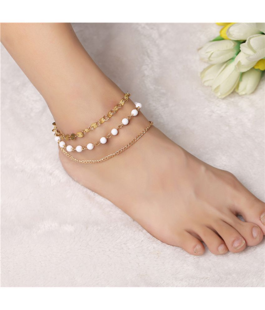 Jewelry Fashion Posey Meters Simple Multi-Layer D Beaded Pearl Sequins Bare Chain Foot Chain