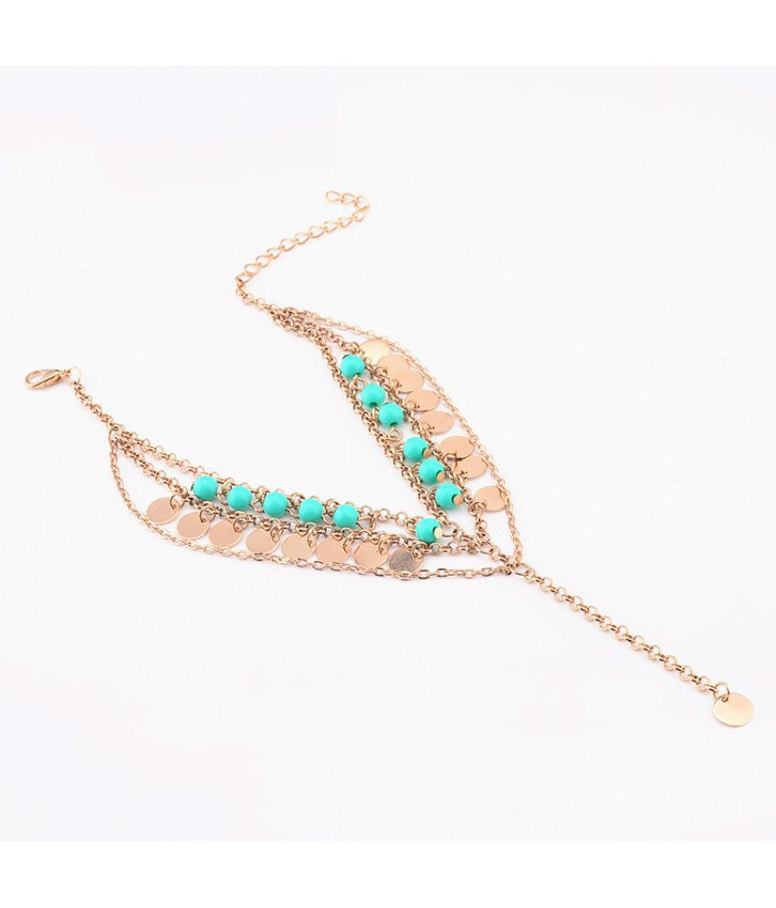Jewelry Fashion Simple Dmade Multi-Layer Beads Sequins Tassel Foot Chain Female