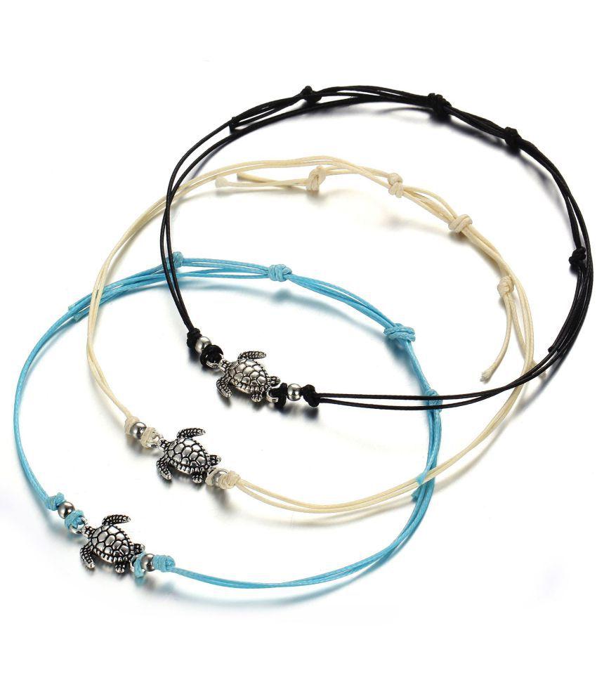 New Retro Lasheng Turtle Chain Bracelet Ancient Silver Three-Color Turtle Beach Chain