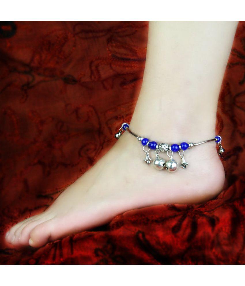 Retro Folk Style Natural Stone Silver Ornament Chain Bell Silver Foot Chain