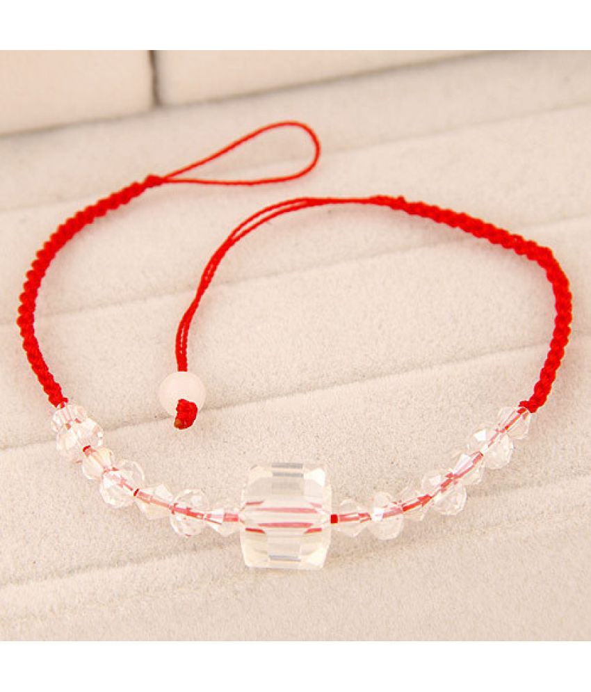 Version Of Fashion Sweet Square Crystal Red Rope Bracelet Chain ( Ds Feet) Accessories