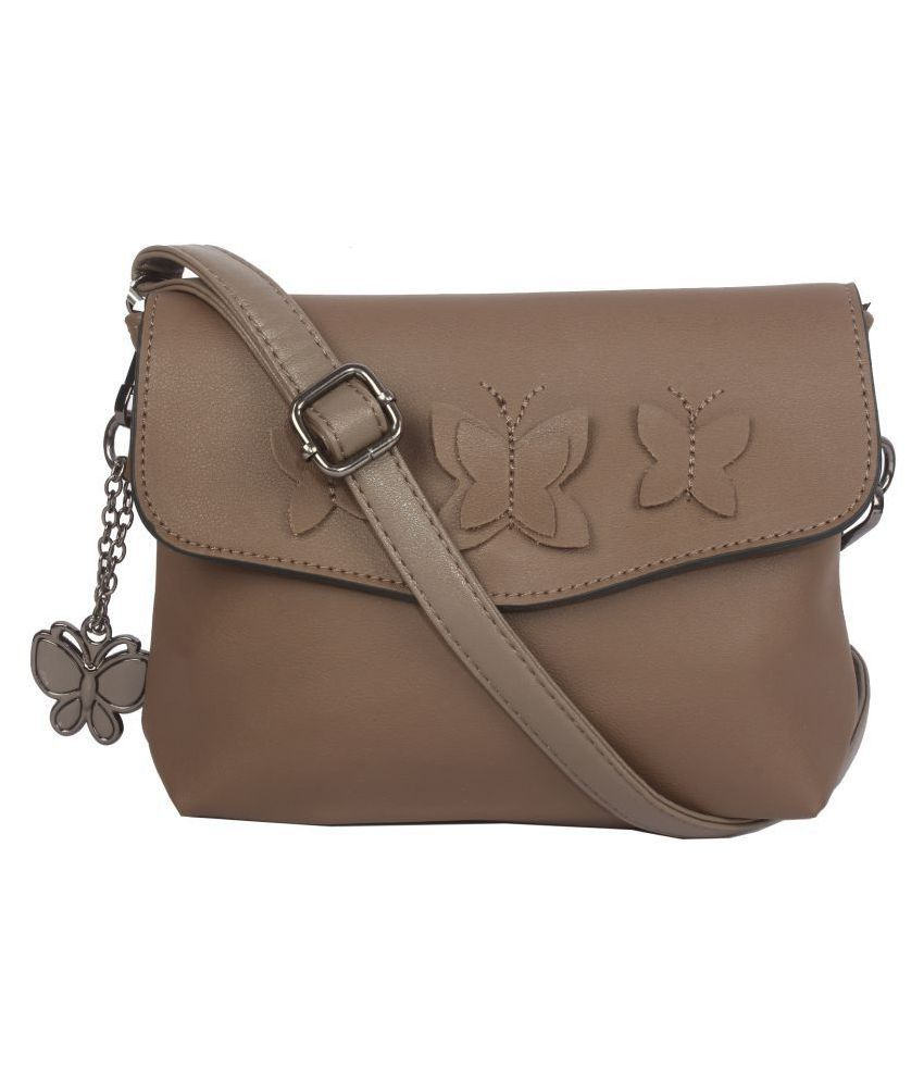 Butterflies Brown Artificial Leather Sling Bag