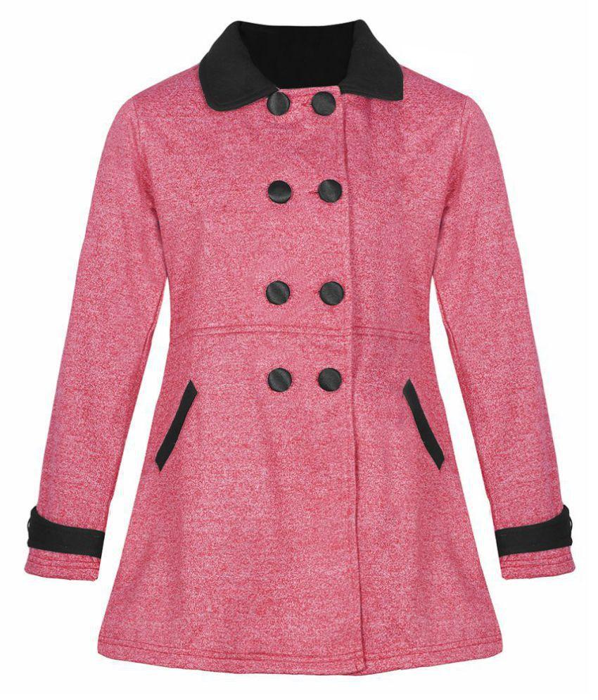 Naughty Ninos Girls Red Melange Fleece Front Open Jackets