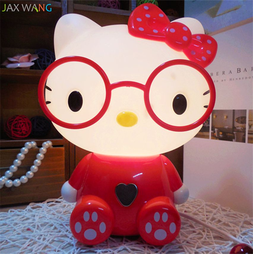 MKcat Cartoon Kitty Cat Night Light Glasses Hello Kitty Night Lamp Touch Switch Lights for Children Room\n Night Lamp Red - Pack of 1