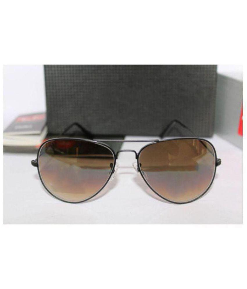 Devil Eyes Brown Aviator Sunglasses ( 3026 )