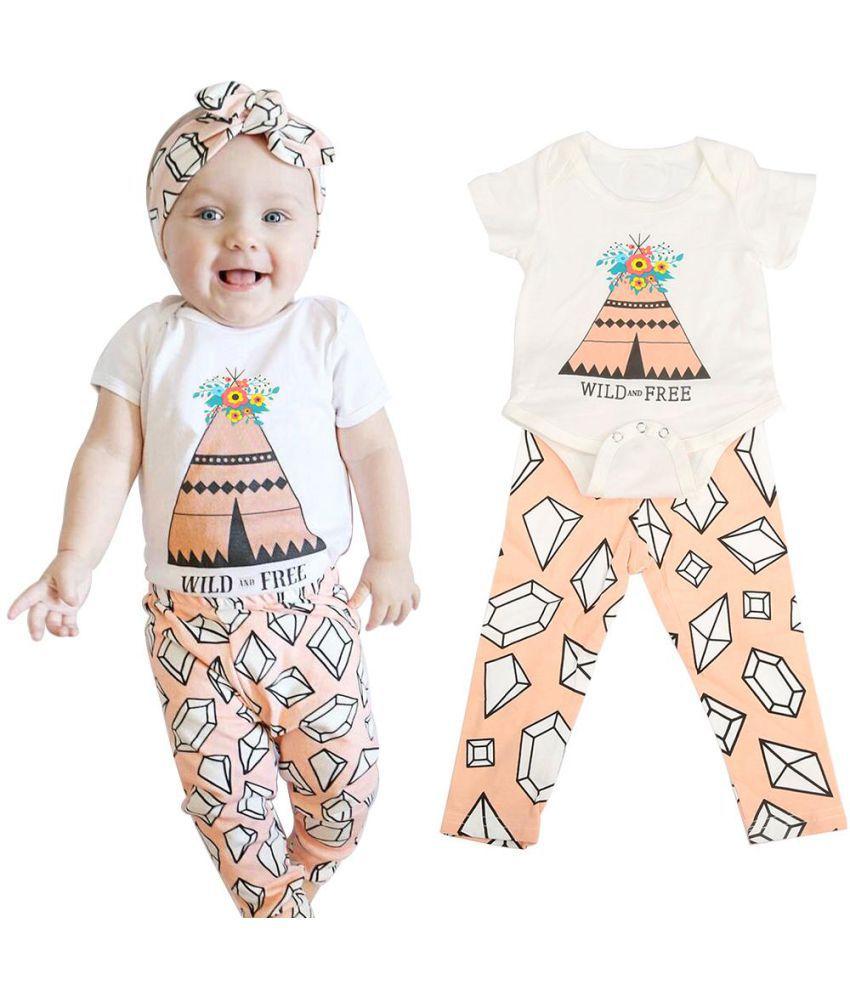 f2c0b0ee2b1 2 Pcs Cotton Newborn Baby Girls Floral Print Clothes Set Romper Pants  Outfits ...