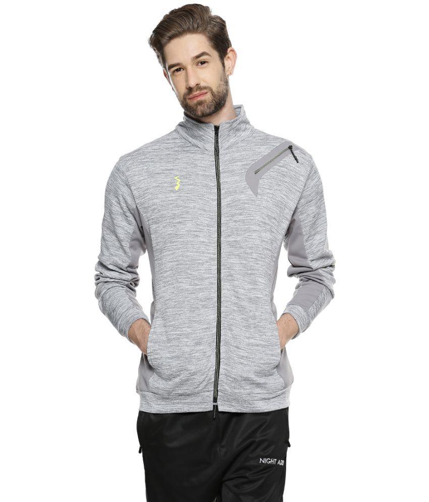 Campus Sutra Grey Polyester Fleece Jacket