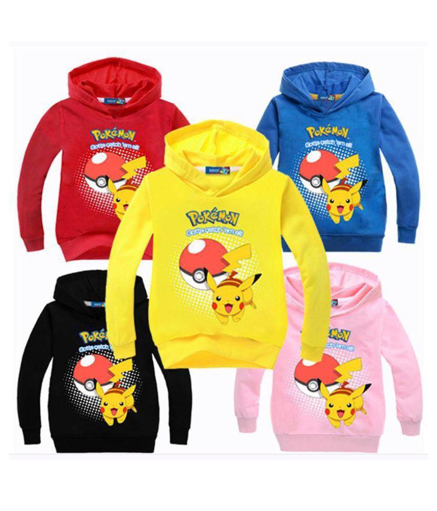 New Pokemon Go Pikachu Pokeball Clothes Kids Girls Boys Sweatshirt Hoodies Coat Outerwear Tops Cartoon Tops Costume 3-12Y