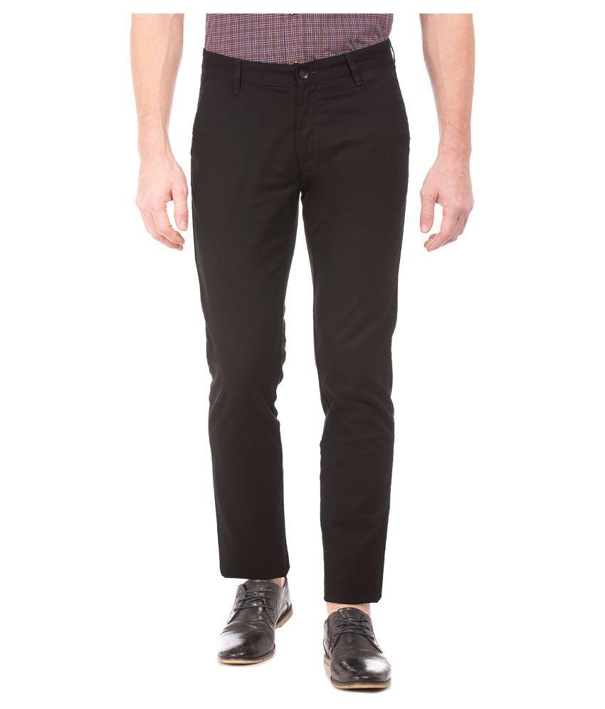 Arrow Sports Black Regular -Fit Flat Trousers