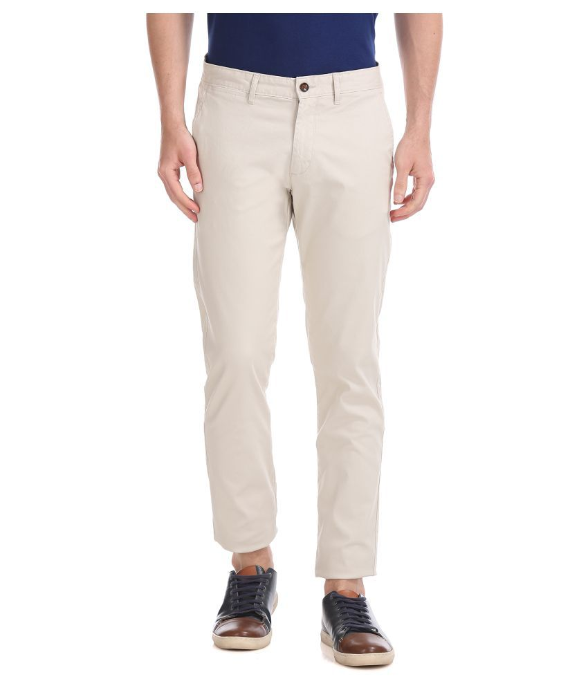 Arrow Sports Off White Regular -Fit Flat Chinos