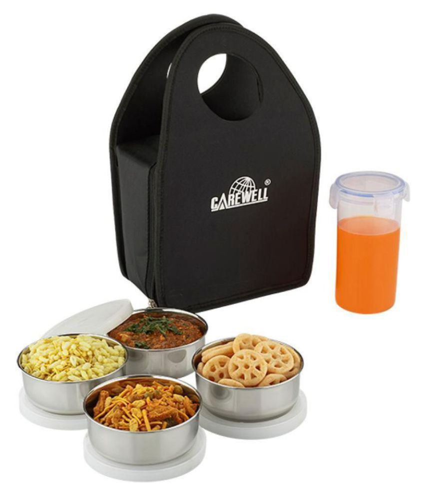 Carewell Black Stainless Steel Lunch Box