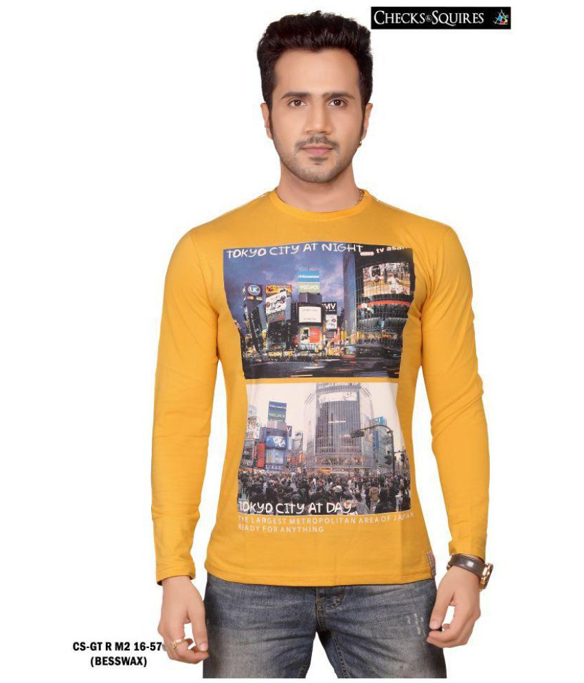 Checks And Squires Yellow Full Sleeve T-Shirt Pack of 1