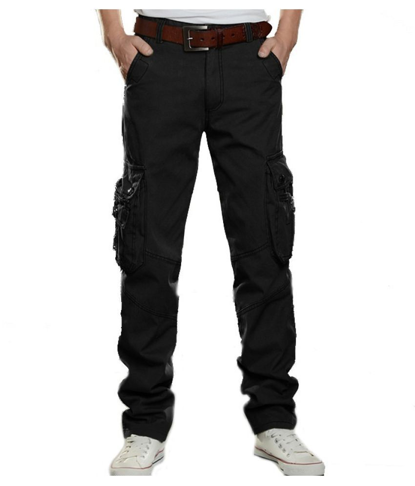 Haorun Black Regular -Fit Flat Trousers