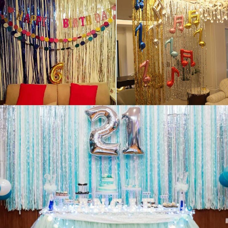 Metallic Fringe Curtain Party Foil Tinsel Room Door Wholesale Home Wedding 2m*1m