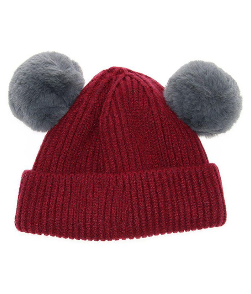 71c239c83fd Winter Knitted Baby Hats Girls Boys Sweet Solid Hat With Two Fur Pompoms  Balls Price in India- Buy Winter Knitted Baby Hats Girls Boys Sweet Solid  Hat With ...