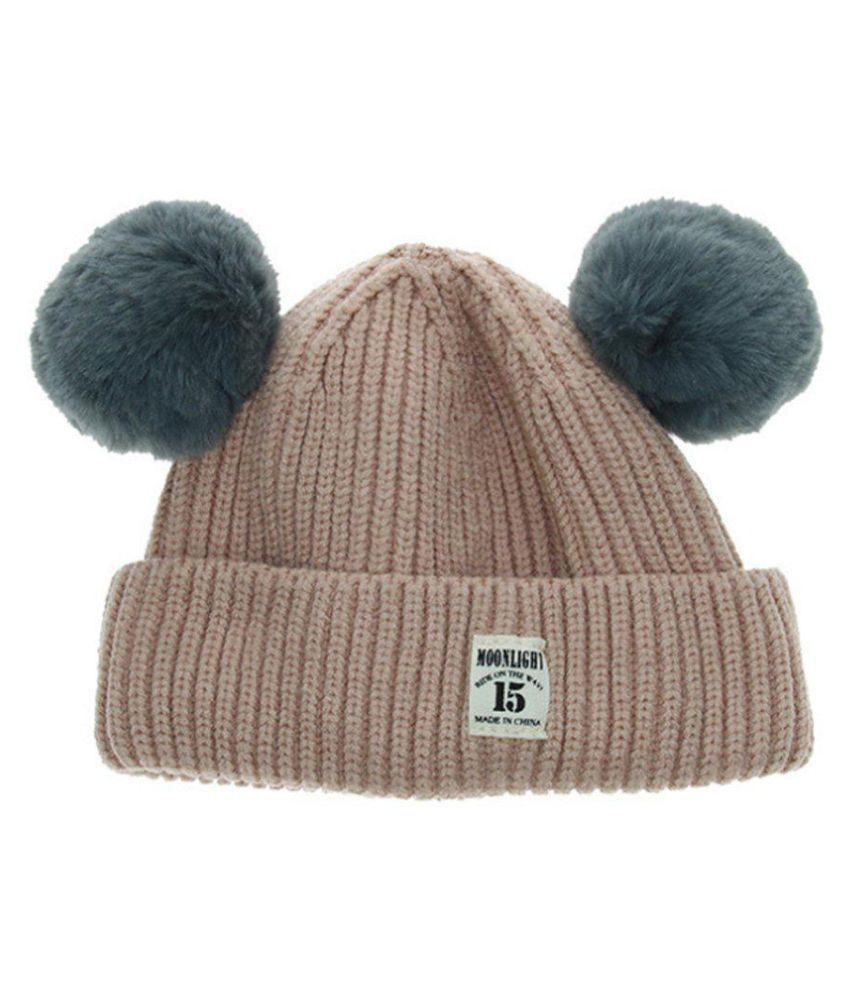 1d4bf229844 ... Winter Knitted Baby Hats Girls Boys Sweet Solid Hat With Two Fur  Pompoms Balls ...