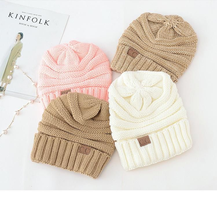 4c5d336786424 ... Women Men Winter Knitted Wool Cap Unisex Folds Casual CC labeling Beanies  Hat Solid Color Hip