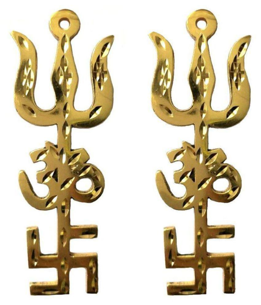 Rudra Divine Trishul Om Swastika Yantra Spiritual Metal Wall Hanging Showpiece Ornament | Rudra Divine | Hindu Religious | House / Office Protection from Evil Eye Effect / Wall Hanging | 4 inches 2 pieces