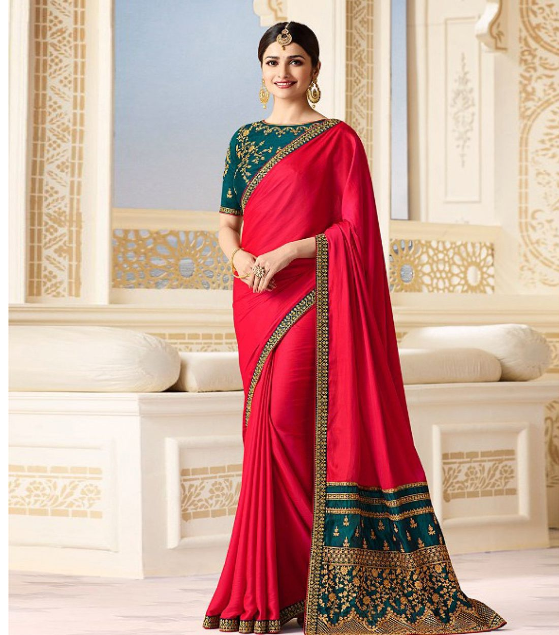 Universal Fab Red and Brown Silk Saree