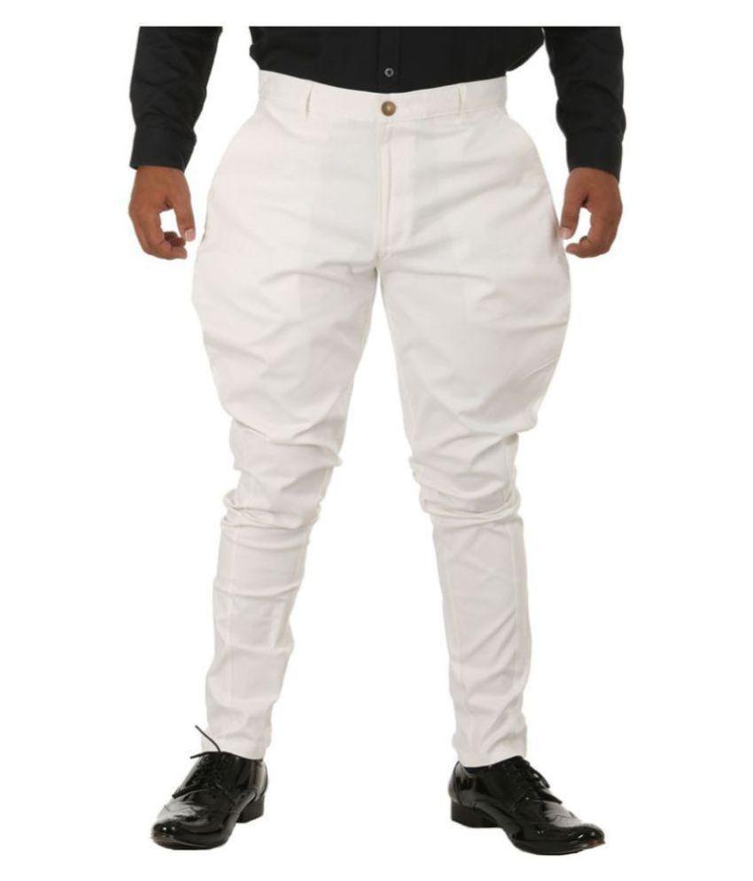 Breakthrough White Regular -Fit Flat Jodhpuri Pants