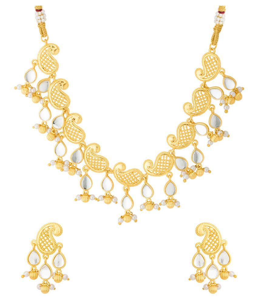 bc337e5e3f4d2 Voylla Brass Golden Contemporary Contemporary/Fashion Gold Plated Necklaces  Set