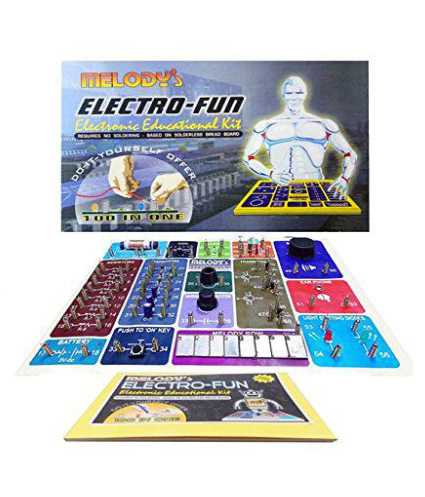 Melodys Electrofun 100 In One Kit Solderless Multi Project Ne555 Melody Circuit Electronics Projects Circuits Electronic Hobby For Starters