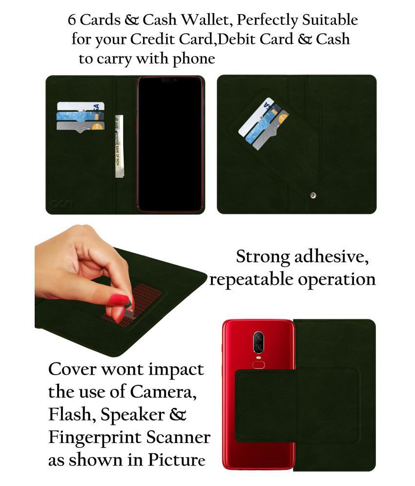 new style 4e924 ec2f8 Micromax Canvas Amaze Q395 Flip Cover by ACM - Green Wallet Case,Can store  6 Card & Cash,Teal Green