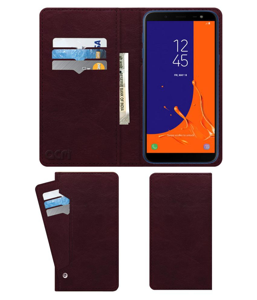 Galaxy On6 Flip Cover by ACM - Red Wallet Case,Can store 6 Card & Cash,Burgundy Red