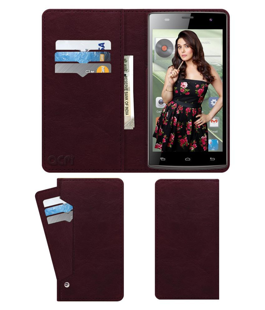 Hsl H2 Plus Flip Cover by ACM - Red Wallet Case,Can store 6 Card & Cash,Burgundy Red