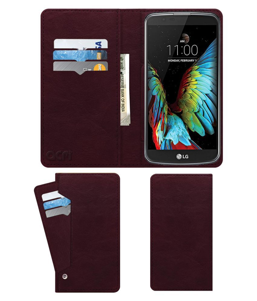 new style 5ca92 9d6b5 Lg K10 LTE Flip Cover by ACM - Red Wallet Case,Can store 6 Card &  Cash,Burgundy Red