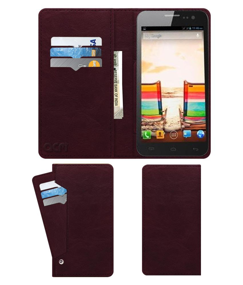 Micromax Canvas 2.2 A114 Flip Cover by ACM - Red Wallet Case,Can store 6 Card & Cash,Burgundy Red