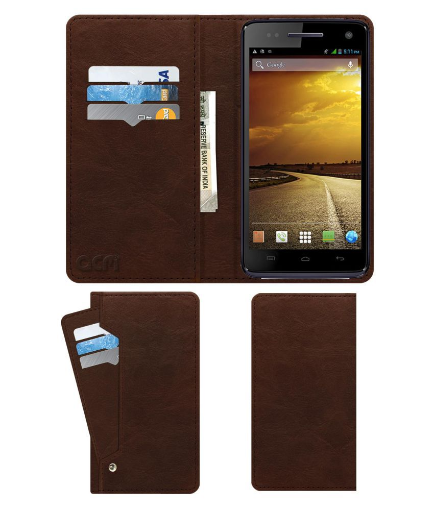 promo code 991fb 8ec5f Micromax Canvas 2 A120 Flip Cover by ACM - Brown Wallet Case,Can store 6  Card & Cash,Rich Brown