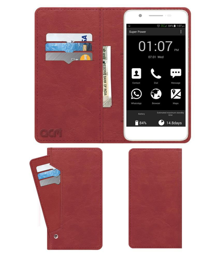 Micromax Canvas Hue AQ5000 Flip Cover by ACM - Pink Wallet Case,Can store 6 Card & Cash,Peach Pink