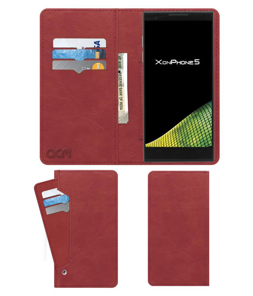 Oplus XonPhone 5 Flip Cover by ACM - Pink Wallet Case,Can store 6 Card & Cash,Peach Pink