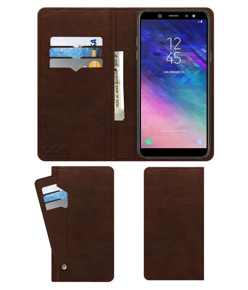 Samsung A6 Flip Cover by ACM - Brown Wallet Case,Can store 6 Card & Cash,Rich Brown