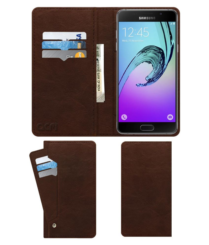 Samsung Galaxy A5 2016 Flip Cover by ACM - Brown Wallet Case,Can store 6 Card & Cash,Rich Brown