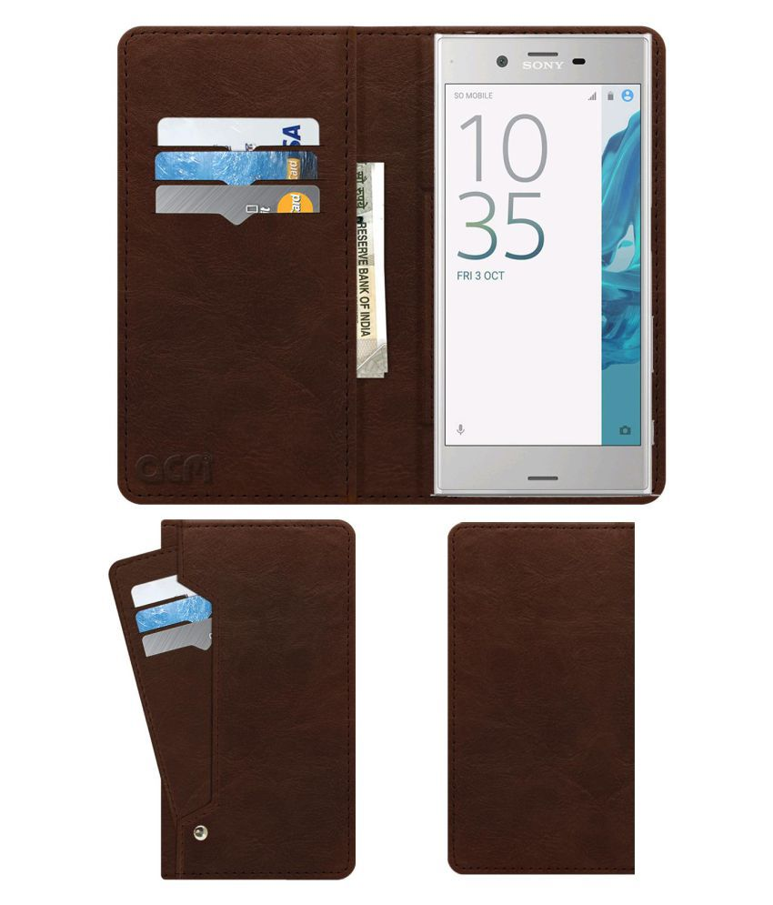 Sony Xperia XZ Flip Cover by ACM - Brown Wallet Case,Can store 6 Card & Cash,Rich Brown