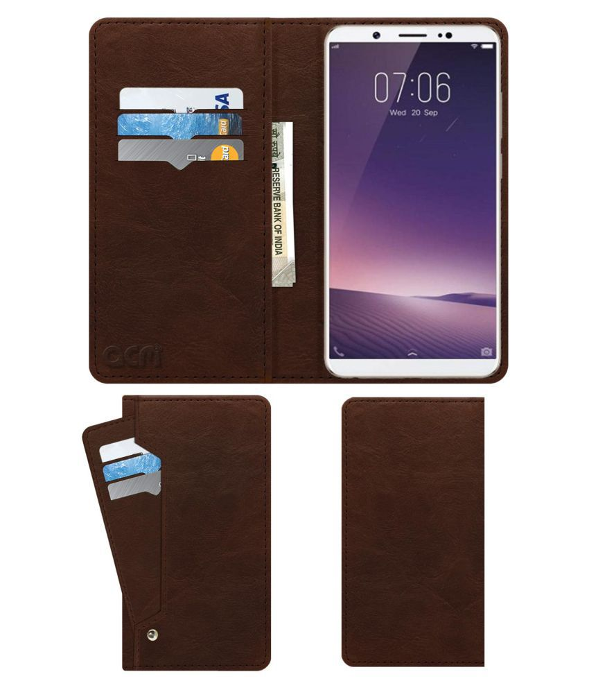 Vivo Y75 Flip Cover by ACM - Brown Wallet Case,Can store 6 Card & Cash,Rich Brown